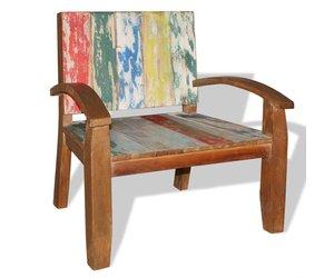 Stoel Met Leuning : Stoel met armleuning massief gerecycled hout 70x60x75 cm wonen31