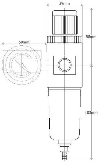 Fengda Drukregelaar Fengda AFR2000B voor compressor, max. 7 bar