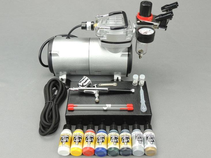 Fengda Fengda airbrush kit with 130K airbrush gun / airbrush compressor / Vallejo paint