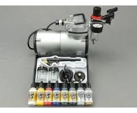 Fengda Fengda airbrush set met BD-138 airbrush pistool / airbrush compressor en Vallejo airbrush verf.