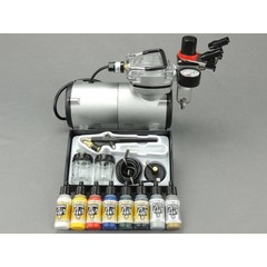 Fengda airbrush set with BD-138 airbrush gun / airbrush compressor and Vallejo Airbrush paint.