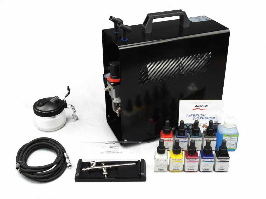Harder & Steenbeck Harder & Steenbeck set Airbrush Ultra 0,2mm with 9 Aero color basic colors.