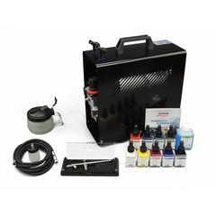 Harder & Steenbeck set Airbrush Ultra X 0,4mm met 9 Aero color basiskleuren.