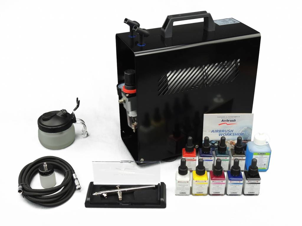 Harder & Steenbeck Harder & Steenbeck set Airbrush Ultra X 0,4mm mit 9 Aero color Grundfarbe