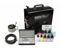 Harder & Steenbeck Harder & Steenbeck set Airbrush Ultra Two in One 0,2 + 0,4 mm with 9 Aero Color basic colors.