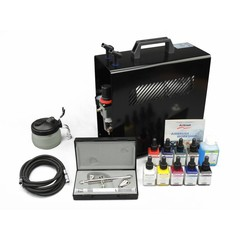 Harder & Steenbeck set Airbrush Ultra Two in One 0,2 + 0,4 mm met 9 Aero color basiskleuren.