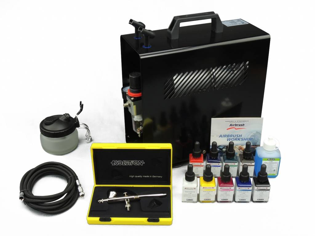 Harder & Steenbeck Harder & Steenbeck set Airbrush Evolution Solo 0,2 mm mit 9 Aero color Grundfarbe