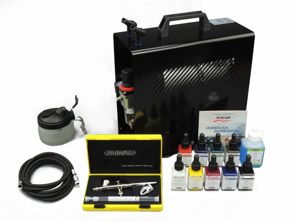 Harder & Steenbeck Harder & Steenbeck set Airbrush Evolution Two in One 0,2 + 0,4 mm with 9 Aero Color basic colors.