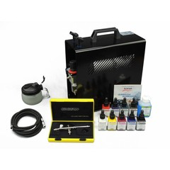 Harder & Steenbeck set Airbrush Evolution Silverline Solo 0,2 mm met 9 Aero color basiskleuren.