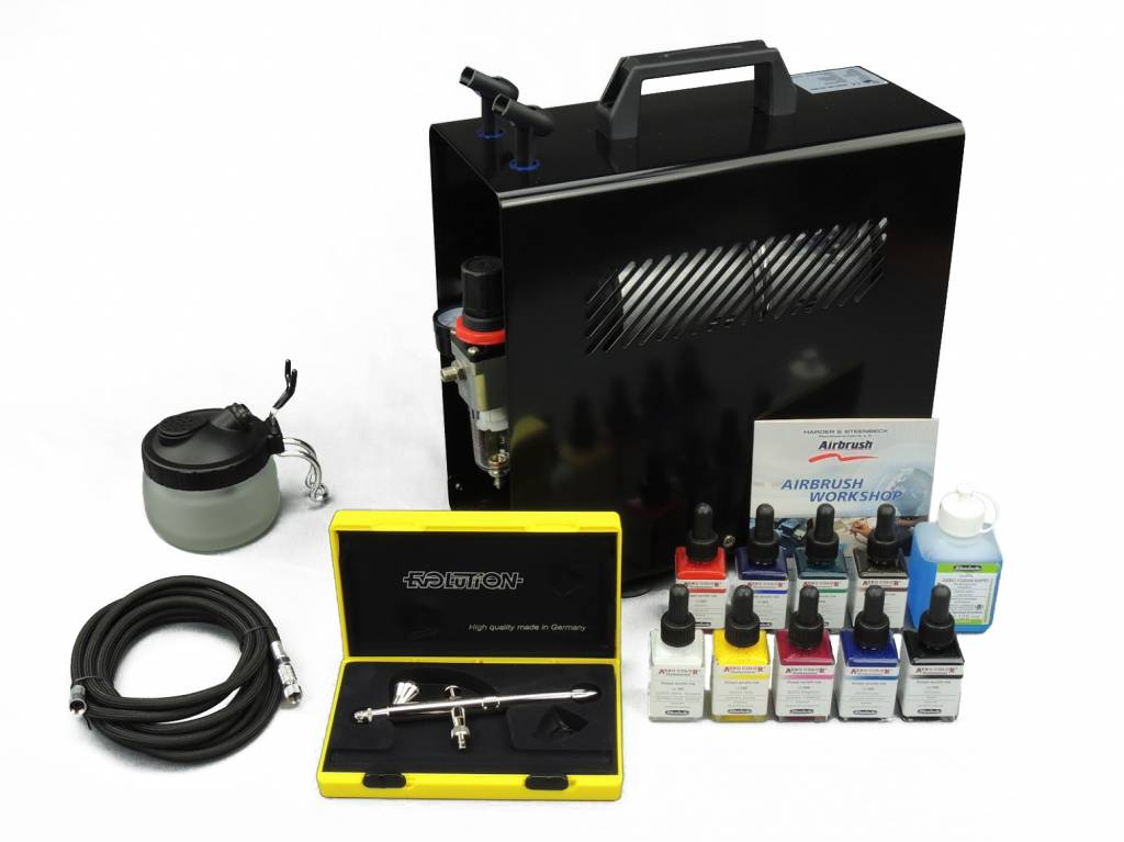 Harder & Steenbeck Harder & Steenbeck set Airbrush Evolution Silverline Solo 0,2 mm with 9 Aero Color basic colors.