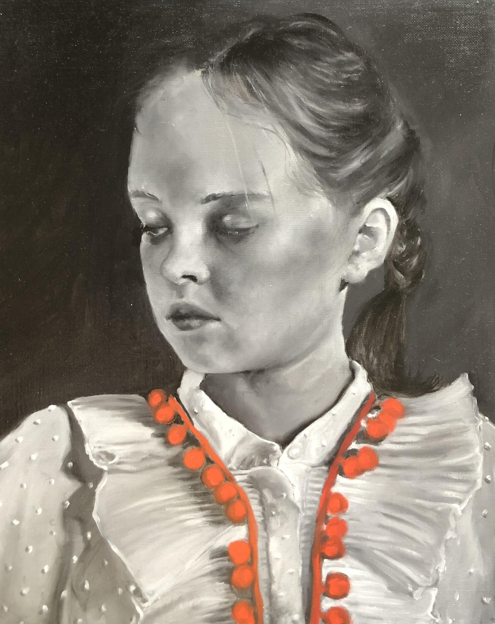 Katrien Kermans Red pompom ribbon