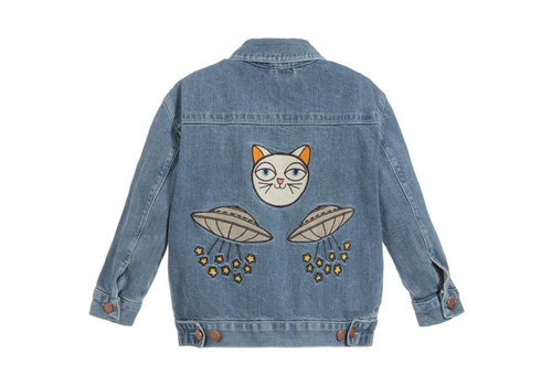 Mini Rodini Mini rodini Denim jacket space cat
