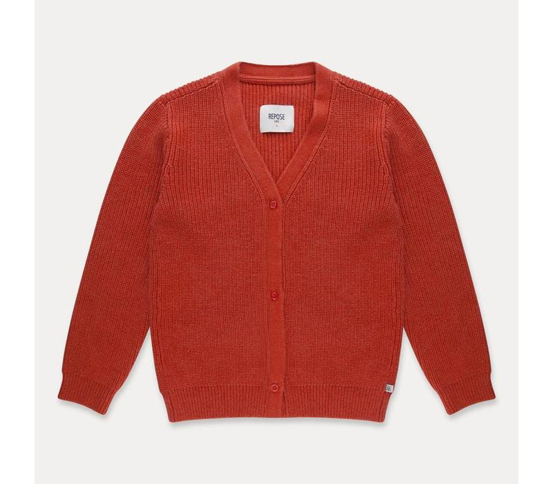Repose AMS Knit cardigan v neck faded smoked red