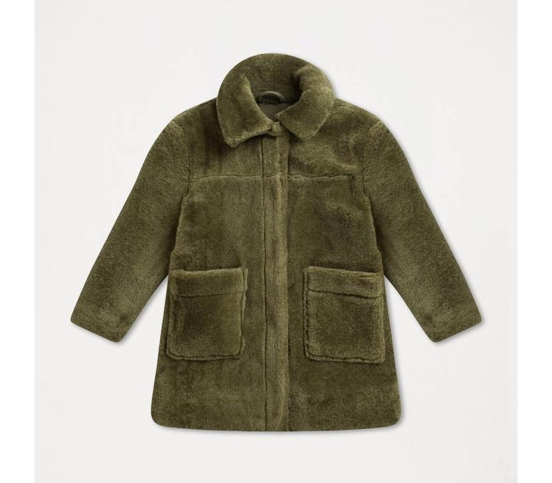 Repose AMS Faux fur coat dusty green