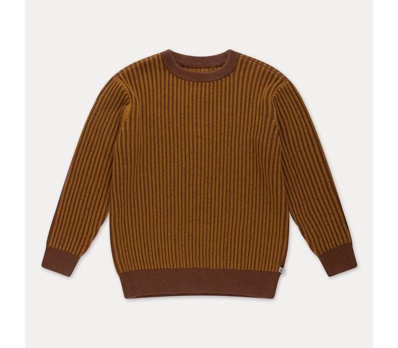 Repose AMS Knit sweater golden sun brown stripe