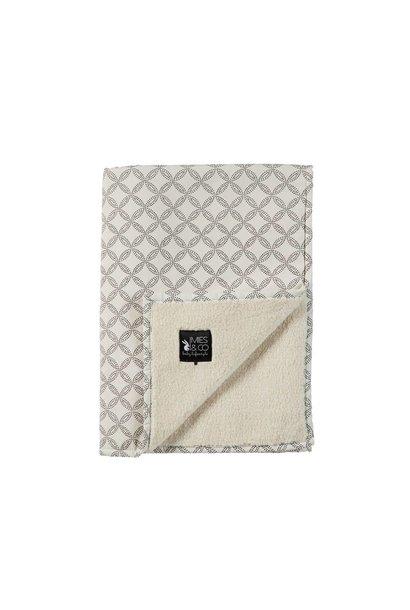 Mies & Co Soft teddy ledikant deken geo circles offwhite