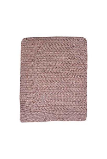 Mies & Co Soft knitted ledikant deken Pale Pink