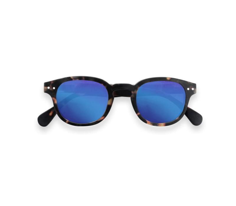 Izipizi zonnebril #C tortoise soft blue mirror lenses