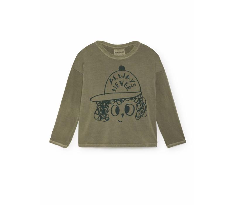 Bobo choses T-shirt always never round neck green/black