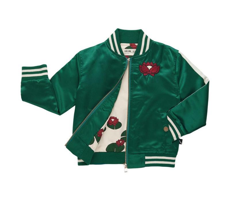 CarlijnQ Bomber jacket + embroidery satin green