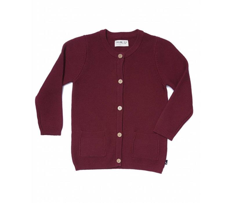 Carlijnq Cardigan + pockets knit burgundy