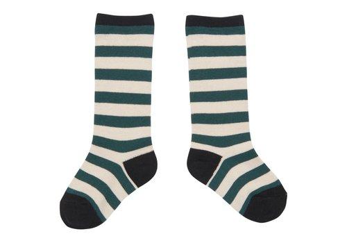 CarlijnQ CarlijnQ kneesocks stripe (green - off white)