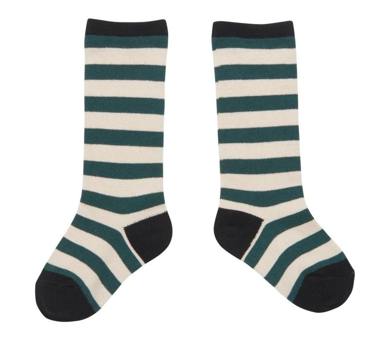 CarlijnQ kneesocks stripe (green - off white)