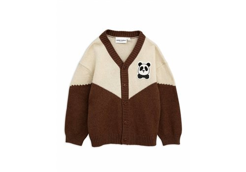 Mini Rodini Mini Rodini panda knitted wool cardigan brown
