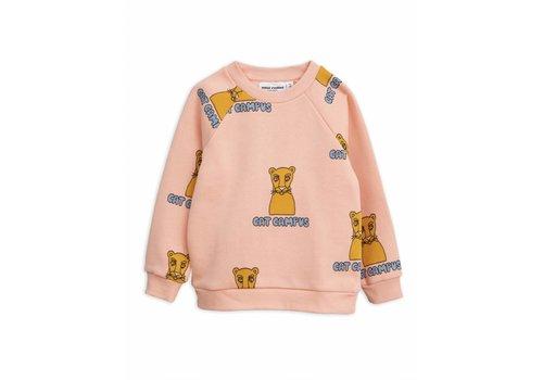 Mini Rodini Mini Rodini sweatshirt cat campus pink