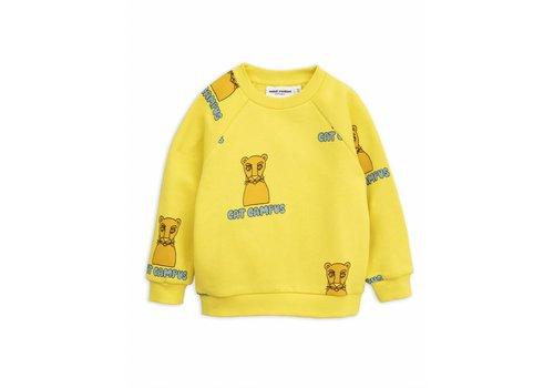 Mini Rodini Mini Rodini sweatshirt cat campus yellow