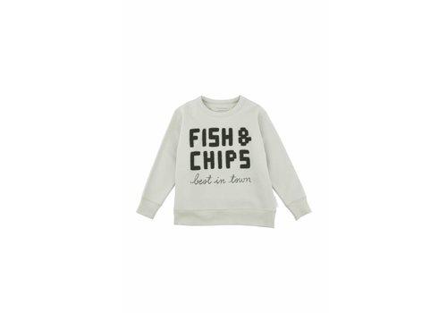 Tiny Cottons Tiny Cottons sweatshirt fish & chips pistacho/dark green