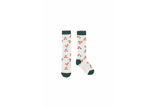Tiny Cottons Tiny Cottons high socks cherries light grey/dark green