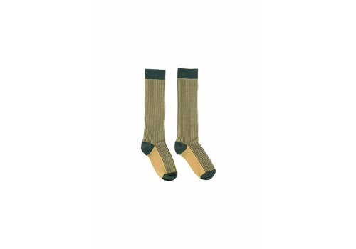 Tiny Cottons Tiny Cottons high socks multi lines dark green/sand