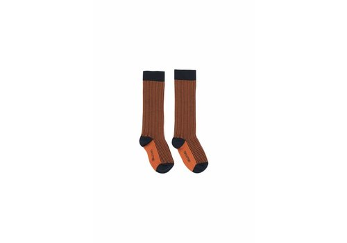 Tiny Cottons Tiny Cottons high socks multi lines navy/red