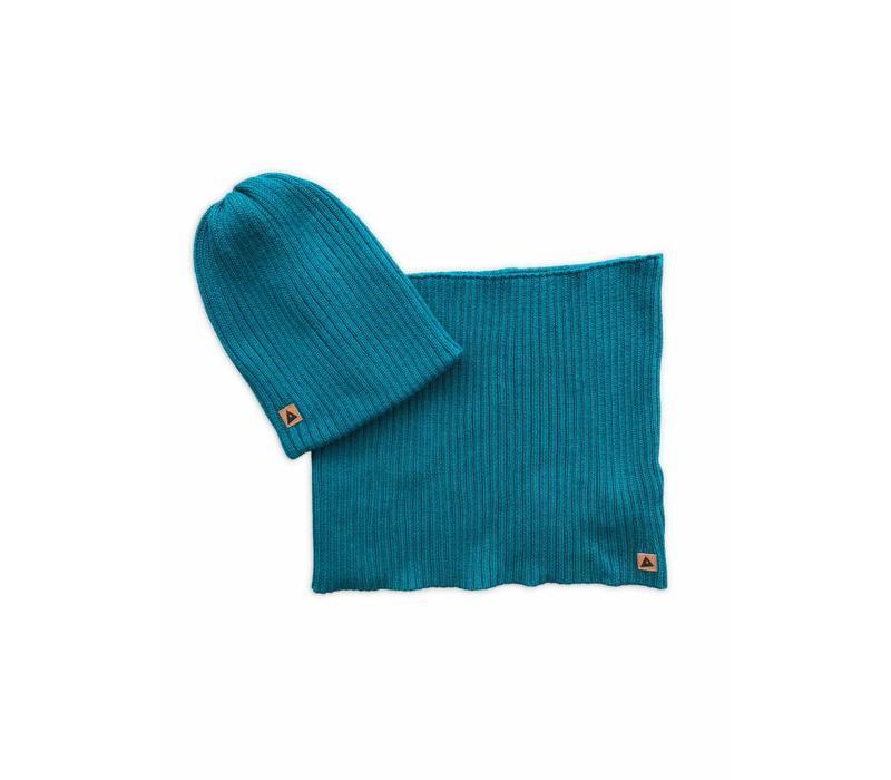 Ammehoela beanie + sjaal army/petrol