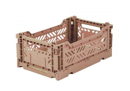 Folding crate mini warm taupe