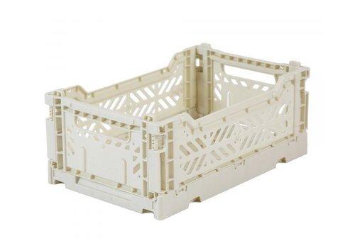 Folding crate mini light grey