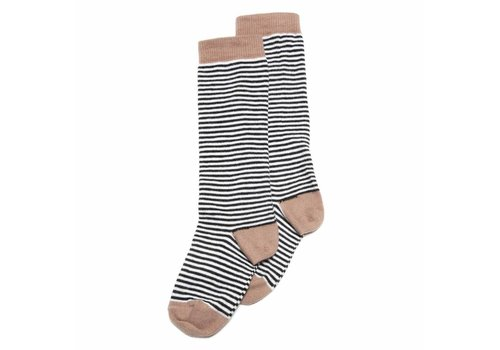 Mingo Mingo knee socks stripe beige/black