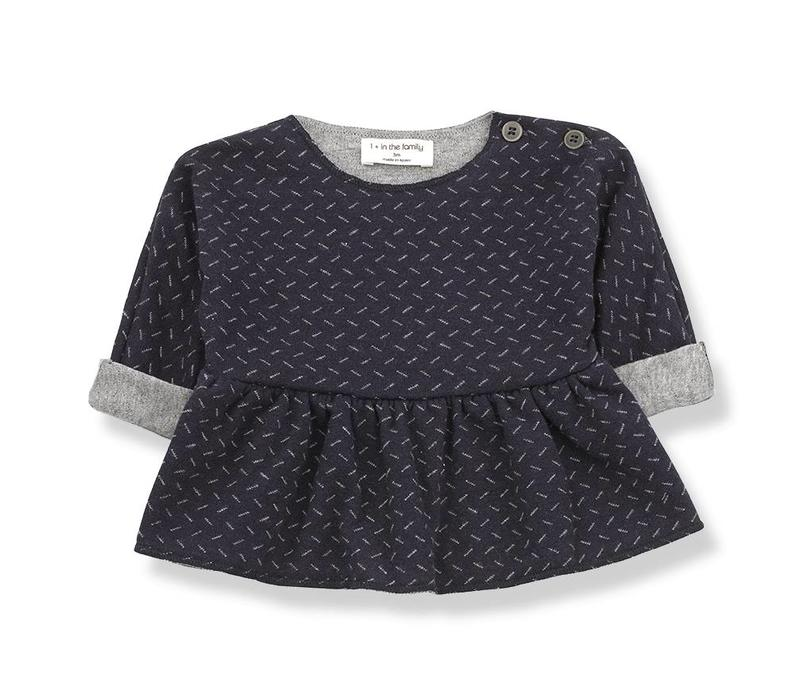 1 + in the family muriel blouse blue/grey