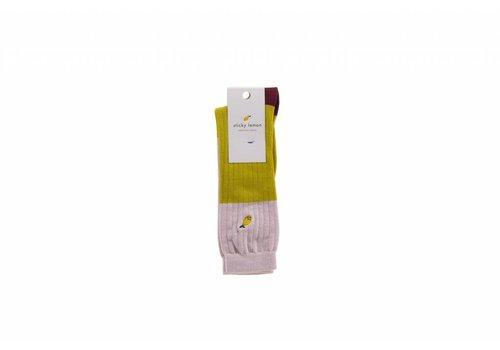 Sticky Lemon Sticky lemon knee socks glitter nude pink