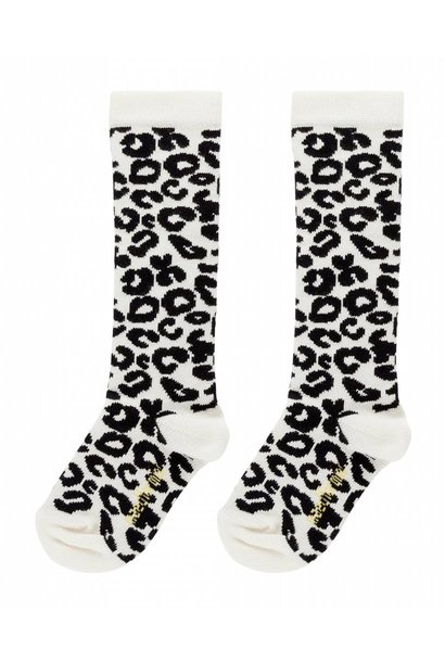 Maed for mini Knee socks white leopard