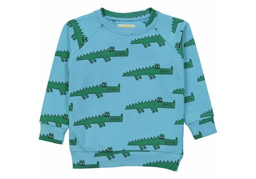 Hugo loves tiki Hugo loves tiki sweater blue crocodile