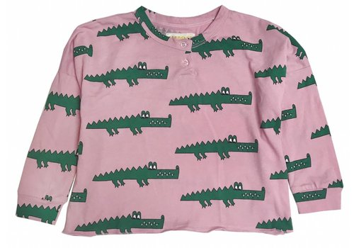 Hugo loves tiki Hugo loves tiki longsleeve pink crocodile