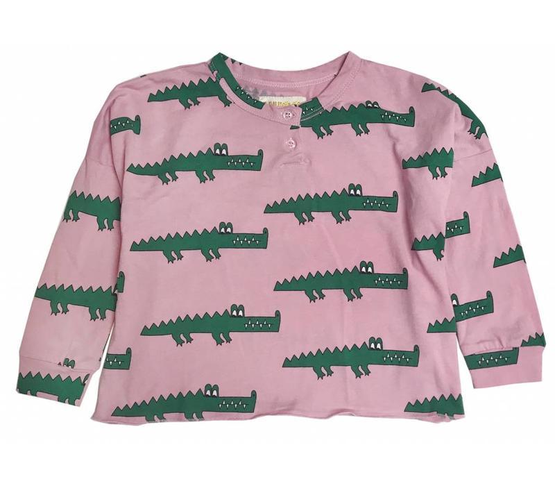 Hugo loves tiki longsleeve pink crocodile