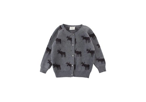 Enfant Enfant knit horizon cardigan dark grey melange