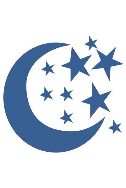 Bibelotte muurstickers maan en sterren blauw