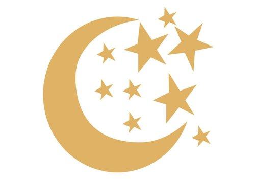 Bibelotte Bibelotte muurstickers maan en sterren goud