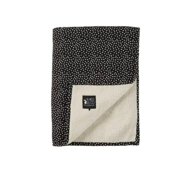 Mies & Co Soft teddy ledikant deken Cozy dots black