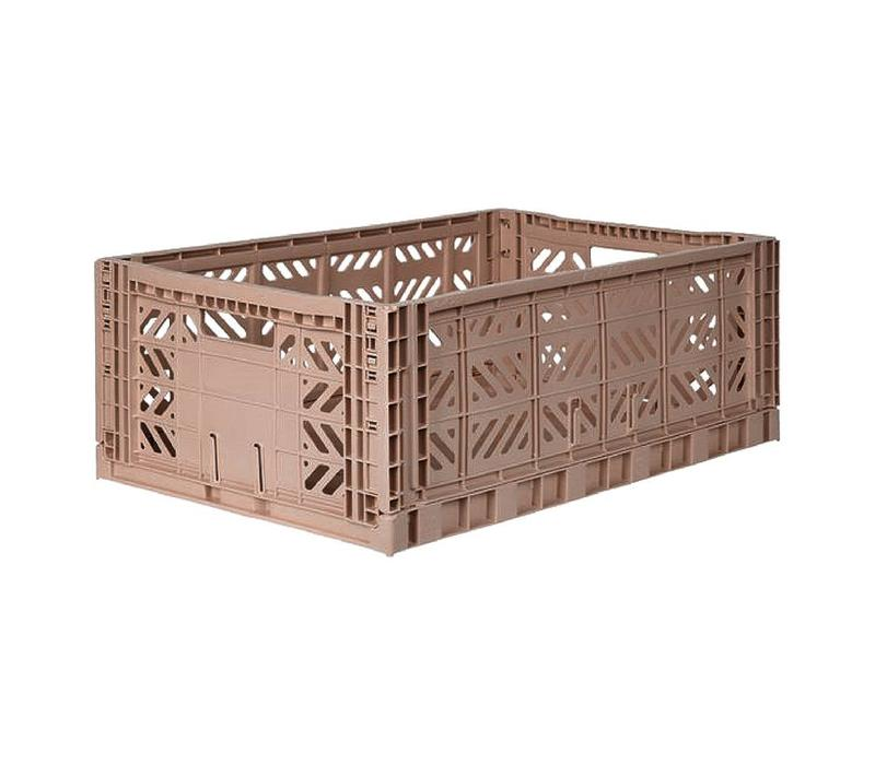 Folding crate large warm taupe