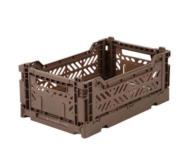 Folding crate mini brown
